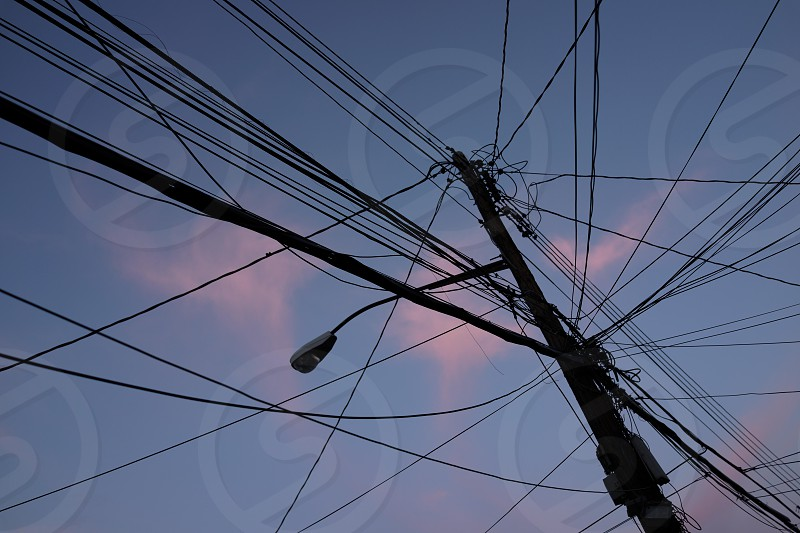 Street photography. Power lines.  photo