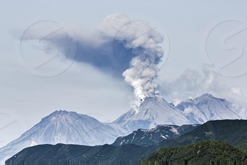 Beautiful volcanic (mountain) landscape of Kamchatka: eruption active Zhupanovsky Volcano on Kamchatka Peninsula (Russia Far East). photo