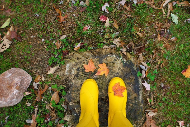 person in yellow galoshes standing on stone photo
