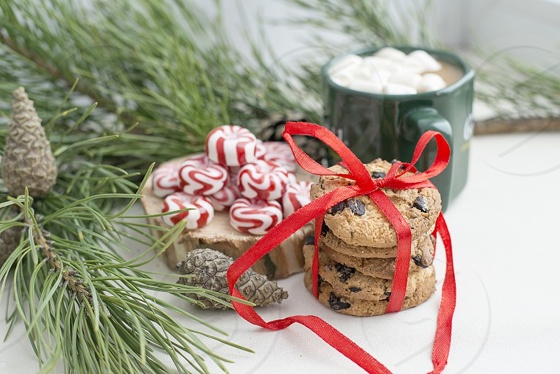 Christmas background card festive candy cookies decorations beautiful new year holidays fun tradition tasty santa photo