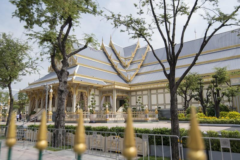 The Cremacion Temple at the Sanam Luang Park at the Funeral Days of Rama 9 in the city of Bangkok in Thailand.  Thailand Bangkok November 2017 photo