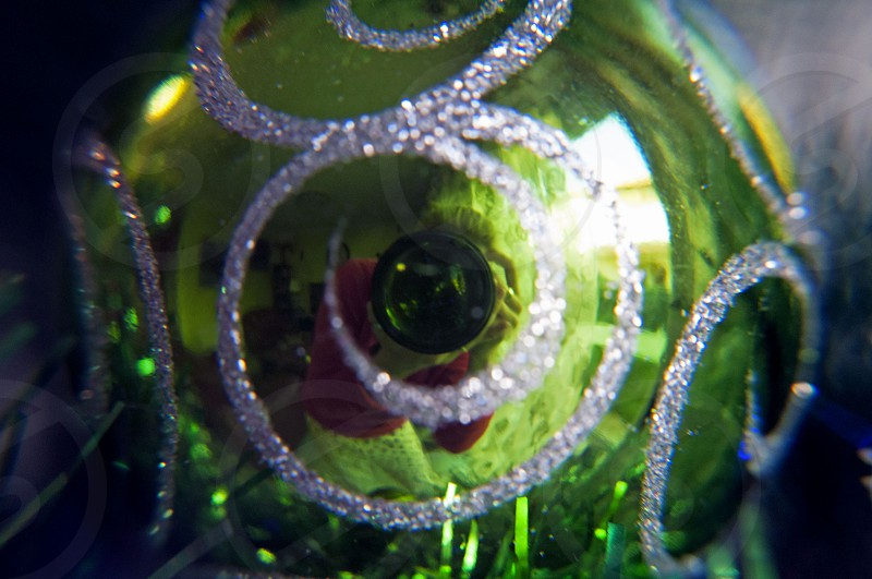 green silver glitter bauble photo