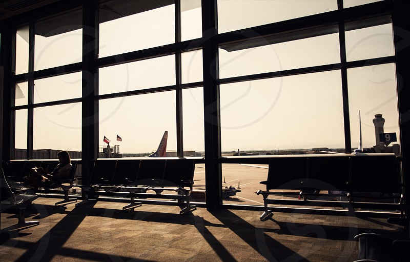Airport travel vacation waiting fly destination depart photo