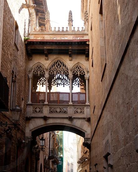 Barcelona Palau generalitat arch corridor in gothic Barrio photo