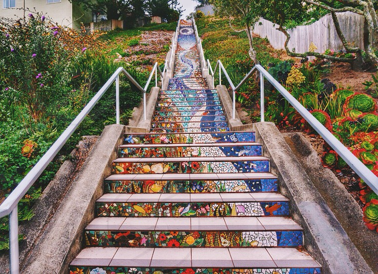 Mosaic staircase in Inner Sunset San Francisco CA. photo