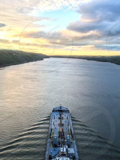 Ship heading north on the Hudson to Albany NY photo