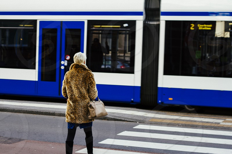 person wearing brown coat and black pants beside white and blue train photo