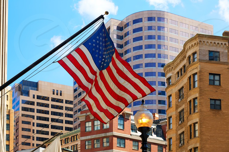 American flag in Boston downtown Massachusetts USA photo