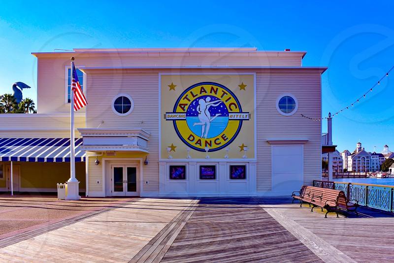 Orlando Florida. February 09 2019 Partial view of Atlantic Dance Bar and USA Flag at Lake Buena Vista area . photo