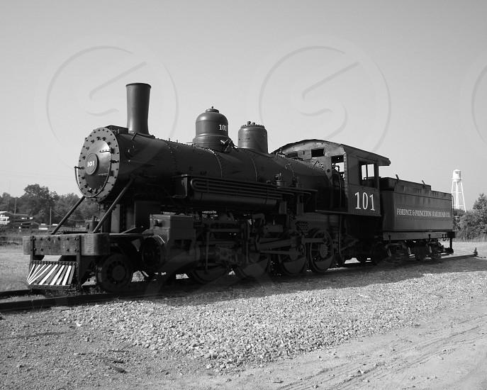 Black and white photo of steam train engine photo