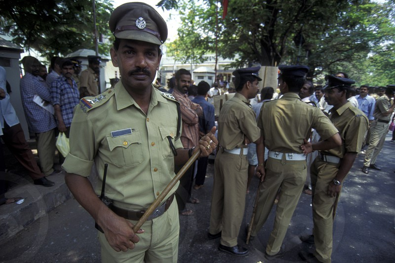 a group of police men in the city of Kochi in the province Kerala in India. photo