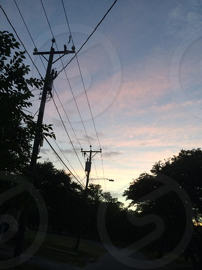 Sunset and powerlines  photo