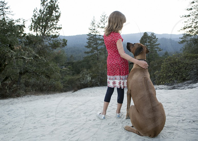 Pet family dog child kid daughter girl large breed dog vista landscape outdoor adventure hiking companionship sunset photo