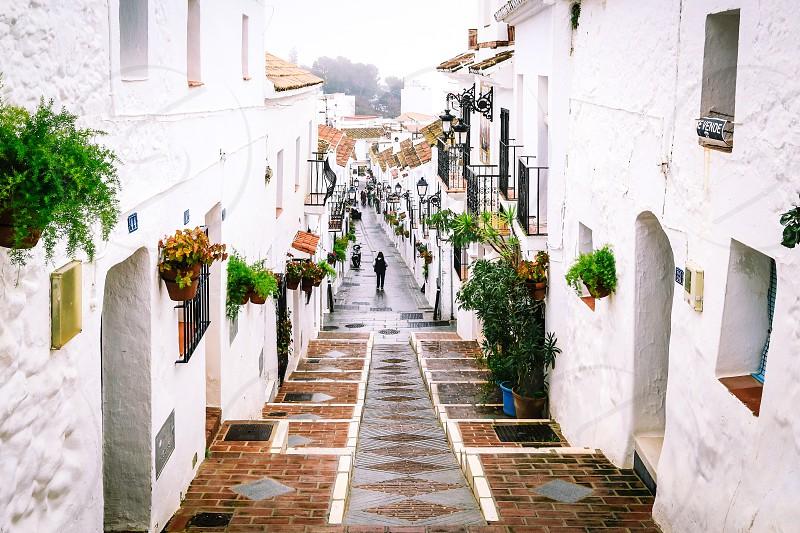 I love Mijas Travel Mijas Spain village Town white walls tourist street streetview fogggy tourist Europe  photo