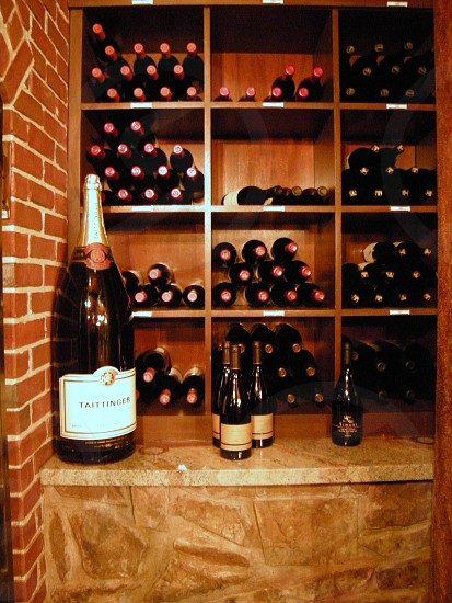 Wine bottles in cellar photo
