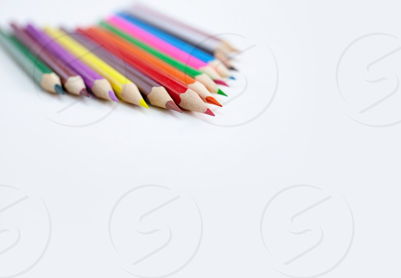 Closeup tips of colorful pencils with selected focus on white background with copy space. Drawing Art Creativity concept. photo