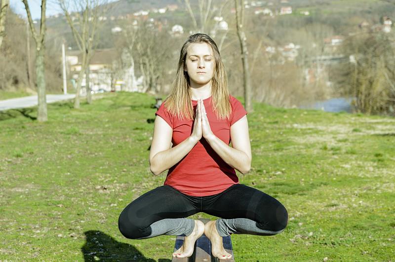 Beautiful girl inner peace spirituality photo