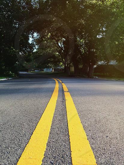 yellow dividing line stripes photo