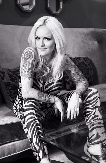 women's black and white leggings  photo