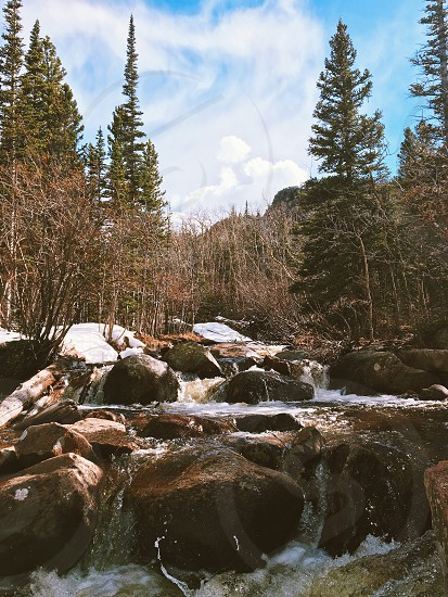 Winter snow cold hike River stream vacation photo