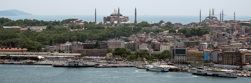 ISTANBUL TURKEY - MAY 24 : View of buildings along the Bosphorus in Istanbul Turkey on May 24 2018 photo