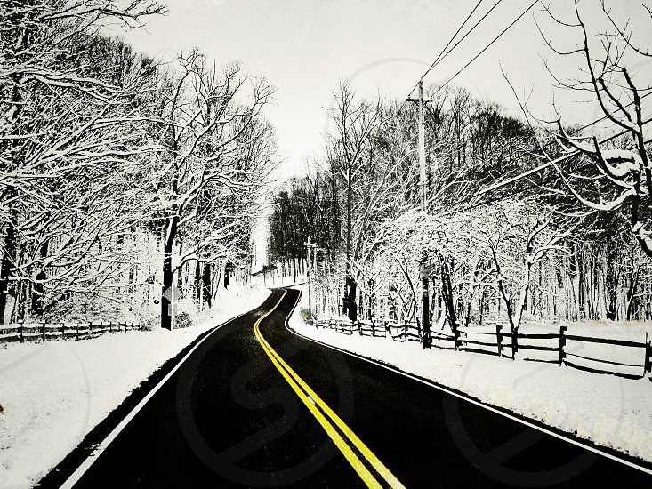 road at snow sketch photography photo