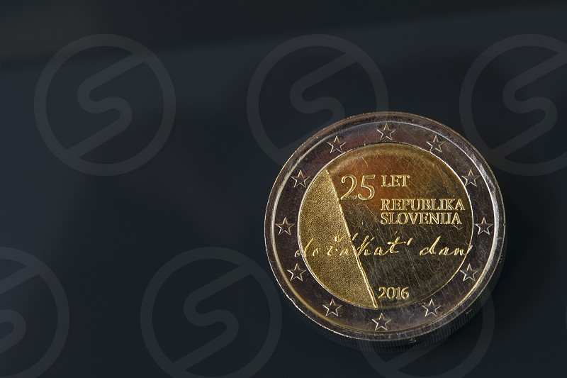 Commemorative 2 EUR coin issued to celebrate the 25th anniversary celebrating 25 years of Slovenia's independence photo