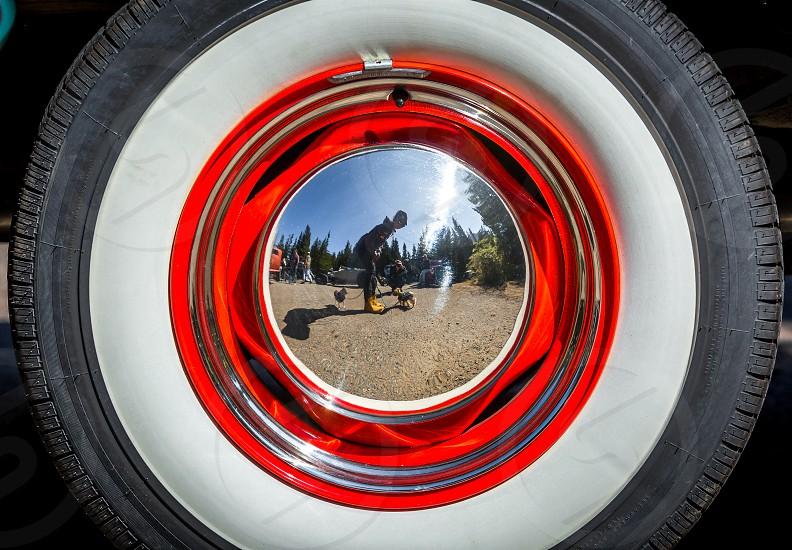 Old cars at the hotrod hillclimb in Colorado photo
