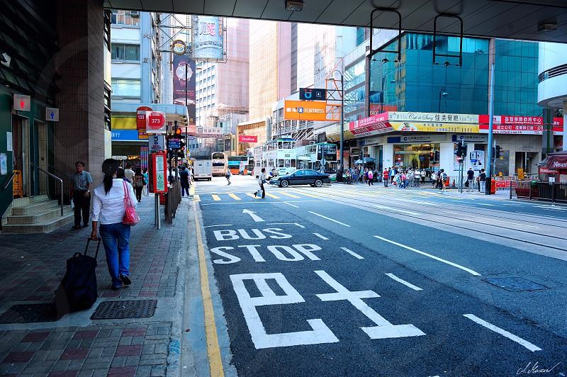 bus stop hong kong china city life city center city photo