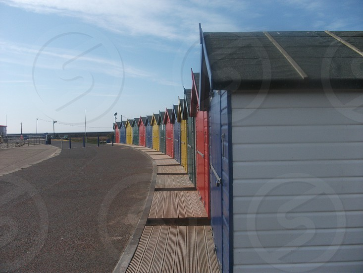 Beach huts Dawlish Warren Devon UK photo