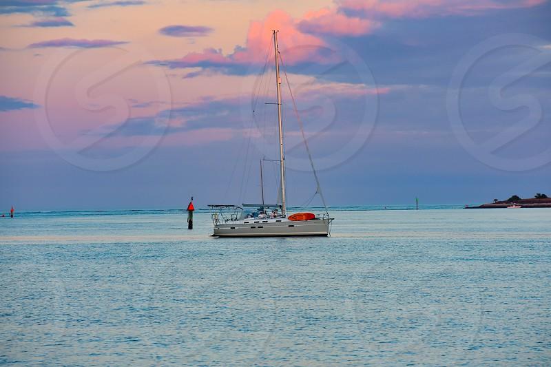 St. Augustine Florida. January 26  2019 . Sailboat on beautiful sunset background in Florida's Historic Coast  (4) photo
