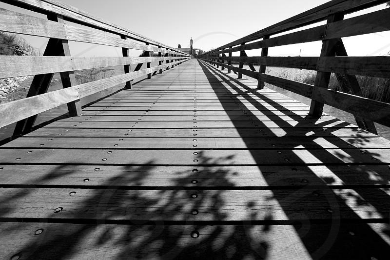 bridge B&W wood shadows photo