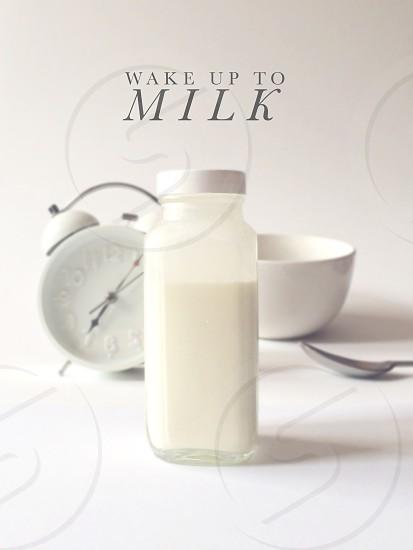 milk clock morning wake up farm fresh photo