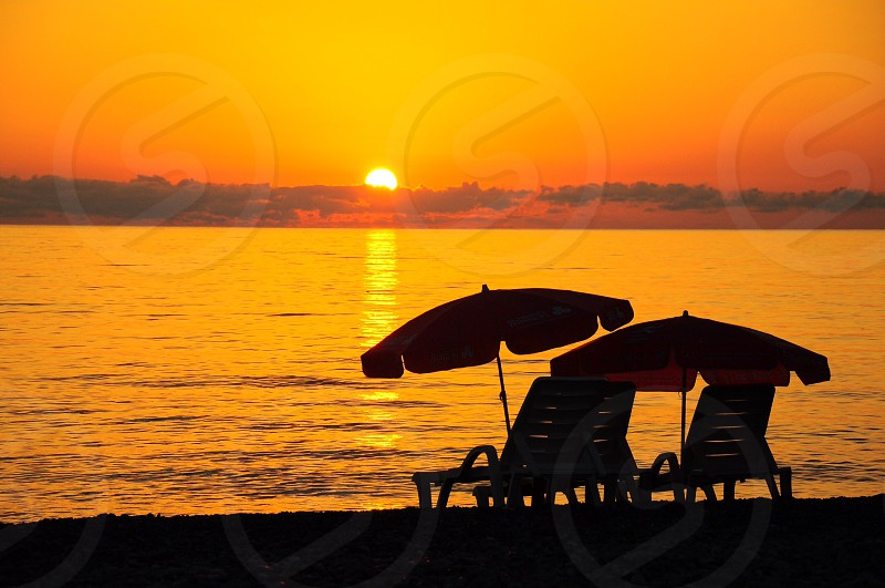 sunset over sea photo