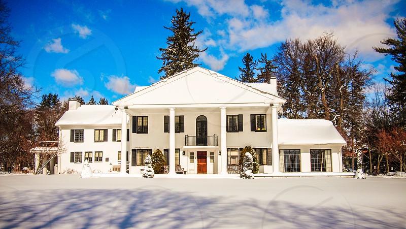 The Alumni House covered in Winter Storm Nemo's snow. Valhalla NY. February '13.  photo