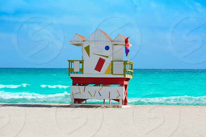 Miami beach baywatch tower in south beach of Florida USA photo