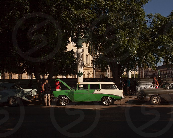 Old car Havana Cuba green broken  photo