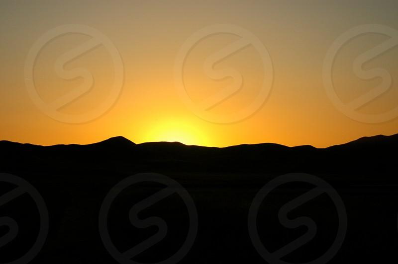 Gold sunset over the Tumbler Range Carrizo plain photo