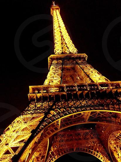 Bonjour Paris FranceEiffel TowerNightEurope UrbanHistoric  photo