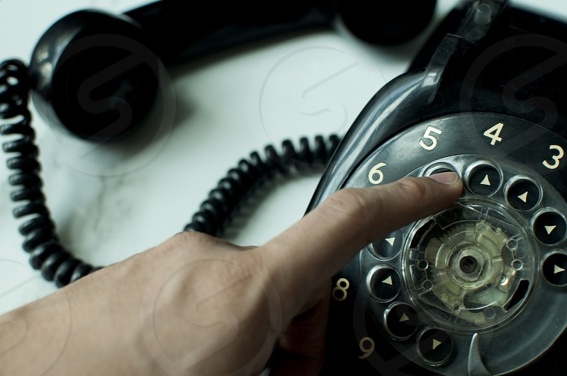 Black vintage telephone photo