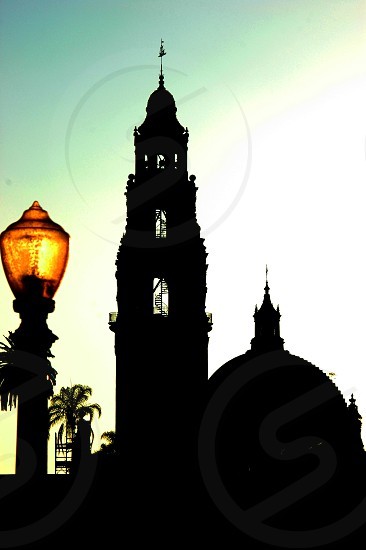 Silhouette of a building in Balboa Park in San Diego California photo