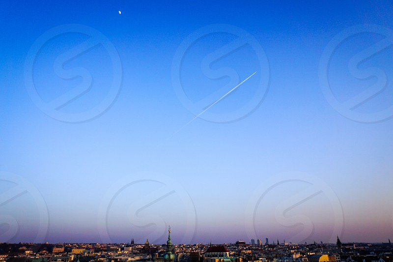 Prague Czech Republic Sky sunset horizon airplane moon cityscape photo
