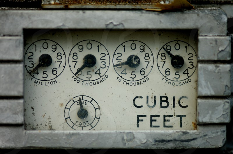 old gas meter close up photo