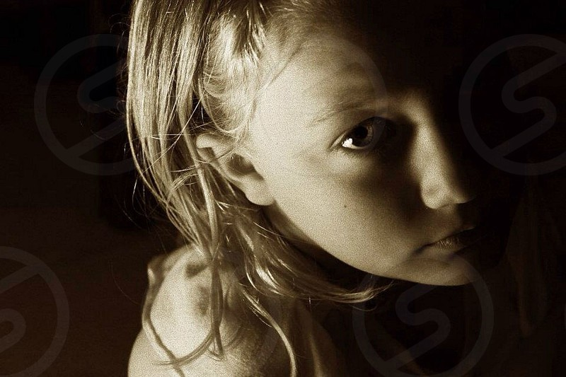 grayscale photography of girl's portrait photo