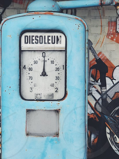 Bohemian style vintage gas station  diesel pump blue photo