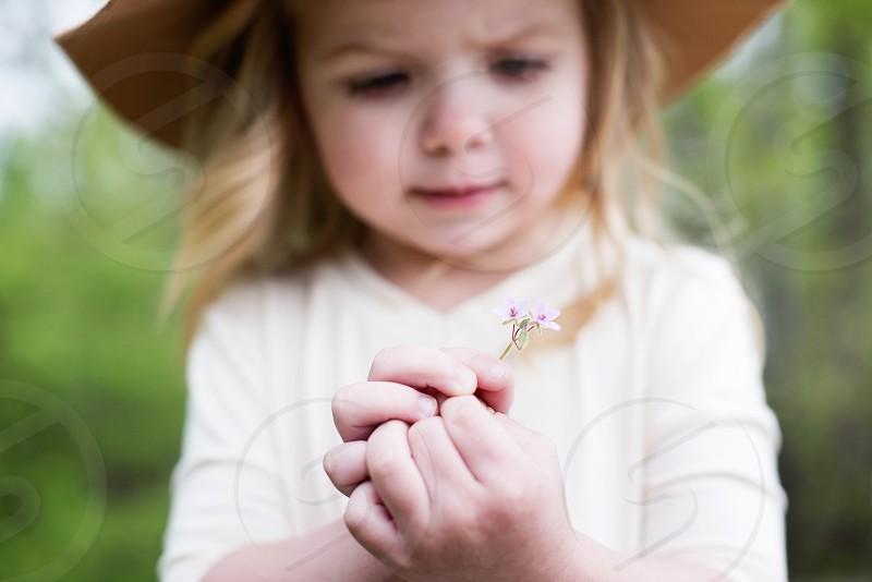 Flower girl hat cute toddler hands summer  photo