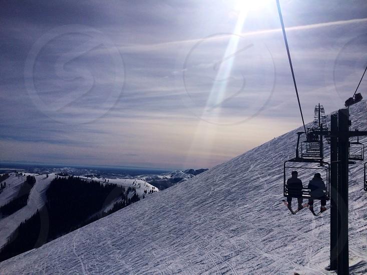 Glorious day on the mountain.  Sun Valley ID; skiing photo