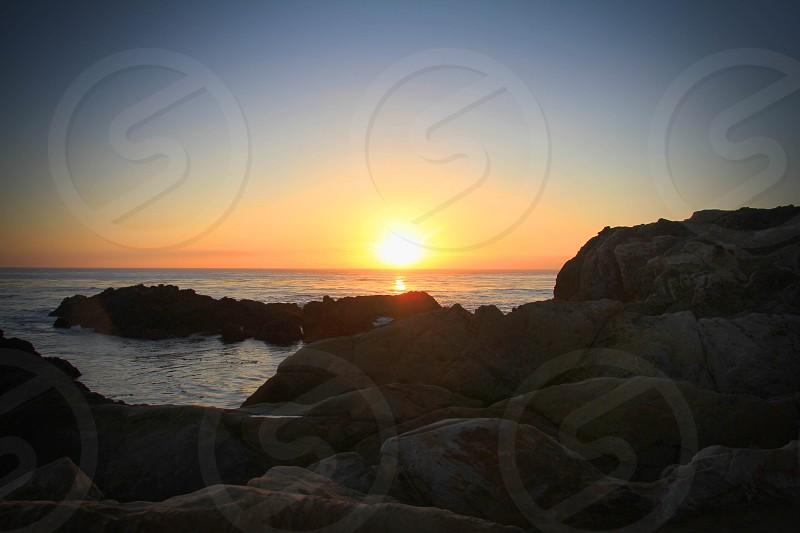 Big Sur Sunset Rocks Ocean Beautiful Sky Romantic photo