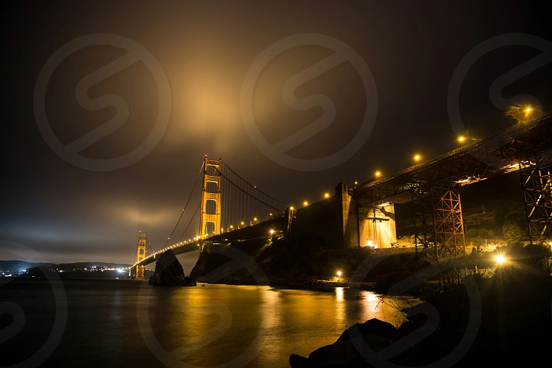 golden gate san francisco night long exposure gold photo