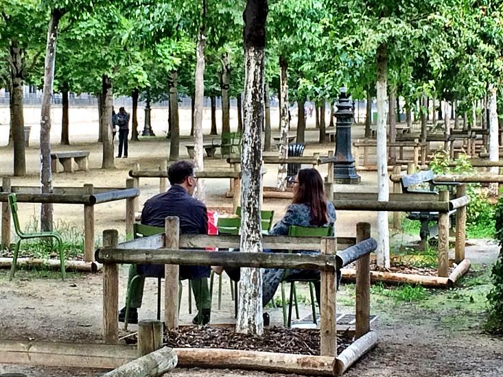 Tuileries romantic loneliness couple sitting bench trees photo